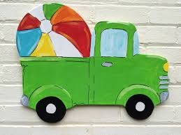 wooden pickup truck vintage pickup truck beach ball summer personalized wooden door