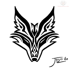 black tribal fox head tattoo stencil by jouo