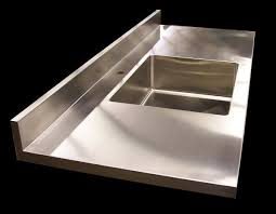 Custom Stainless Steel Countertops With Brushed  Finishes - Custom stainless steel backsplash