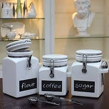 stoneware kitchen canisters buchase 3 pack white stoneware food storage canister set with