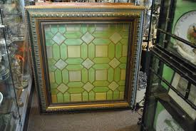 Antique Stained Glass Window In Greens And Yellows Framed And Back