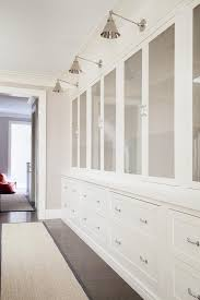 Hallway Cabinet Doors Hallway With Gray Glass Cabinet Doors Transitional Entrance Foyer