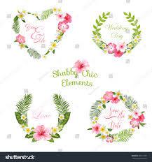 Flower Design For Scrapbook Tropical Leaves Flowers Banners Tags Your Stock Vector 386717938