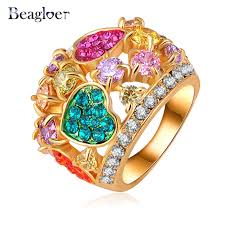 aliexpress buy beagloer new arrival ring gold beagloer style ring multicolored austrian ring gold