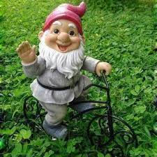polyresin garden ornament for gnome bicycle decorations