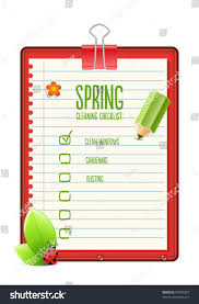 spring cleaning checklist illustration stock vector 97945907