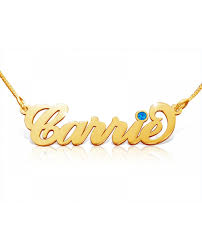 november birthstone name carrie birthstone name necklace 18k gold plated the name necklace