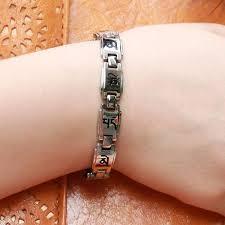 magnetic stone bracelet images Buddhist mantra titanium steel energy magnetic stone couple jpg