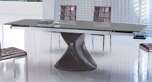 Grey Extendable Dining Table Contemporary Grey Extendable Dining Table With Unique Base Wyoming