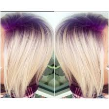 purple violet shadow root with platinum blonde hair follow on