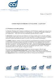 chambre de commerce 06 communiqué de presse 22 06 17 cci wallonie et actualité politique