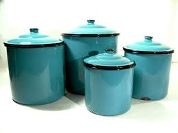 rooster blue set of 3 ceramic storage canisters with turquoise