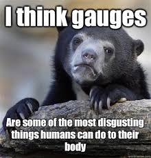 Most Disgusting Memes - i think gauges are some of the most disgusting things humans can do