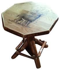 Rustic Side Table Rustic Sassafras Octagon Woodburn End Table Buck Image Rustic
