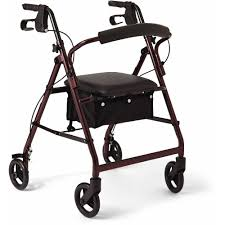senior walkers with seat medline aluminum foldable rollator walker with 6 wheels burgundy