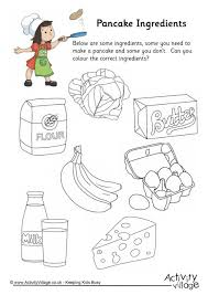 pancake ingredients colouring worksheet
