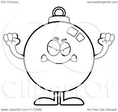 cartoon clipart of a mad christmas ornament mascot vector