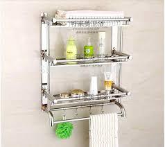 Bathroom Shelves For Towels Bathroom Racks Chrome Wall Mounting Two Tier Shelf With Towel Bars