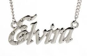 Necklace With Name 18k White Gold Plated Necklace With Name Elvira Name Chain