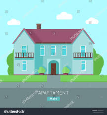 modern apartment building blue house purple stock vector 499690015