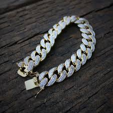 gold link bracelet mens images Iced out lab diamond 18k gold cuban link bracelet men 39 s hip hop jpg
