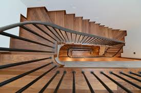 straight staircase half turn wooden steps metal frame