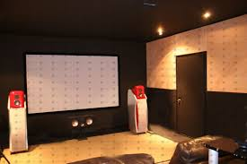 in home theater soundproof home theater in home cellar stock photo 230243485
