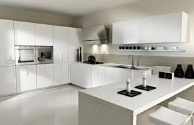 kitchen white theme modular kitchen design with breakfast bar