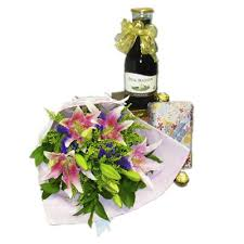 flowers wine wine chocolates and deluxe flower bouquet my flower delivery