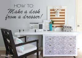 How To Make A Sewing Table by How To Make A Desk From A Dresser With Wallpapered Drawers