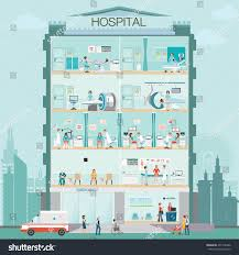 hospital building doctor patient medical check stock vector