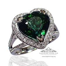 custom rings with images Gia 18kt 5 07 ct green heart cut natural tourmaline diamond jpg