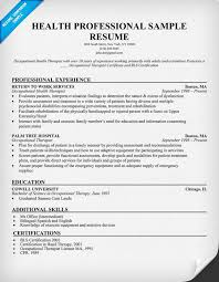 Occupational Therapy Resume Examples by Health Professional Sample Resume Http Resumecompanion Com