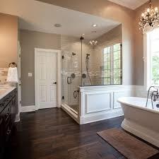 Bathrooms With Freestanding Tubs Wood Tile Floor Master Bathroom By Sandyadler Jess Pearl Pearl