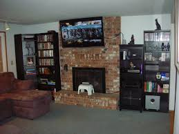 traditional style family room with large monitor mounting tv over