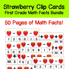 math facts grade math facts clip cards 1 10 strawberry theme