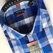 van heusen mens blue check dress shirt flex collar slim fit 18 34