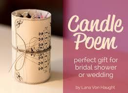 bridal shower gift poems gift for wedding or bridal shower candle poem candles
