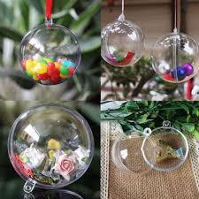 10 clear fillable candy box christmas bauble xmas tree ball