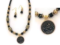 new orleans water meter jewelry gold black new orleans water meter necklace set yf23158gld
