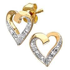 gold and diamond earrings naava women s 9 ct yellow gold diamond heart earrings co