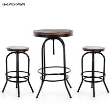 kitchen table with swivel chairs ikayaa us stock 3pcs pinewood top bar pub bistro table chair set