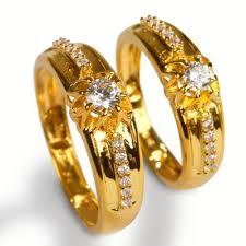 engagement couple rings images Gold white stone couple ring jeweldaze jpg