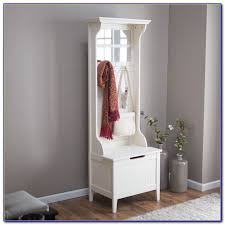 entryway tree with mirror coat hooks and storage bench