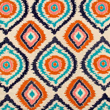 navy blue and orange upholstery fabric embroidered turquoises