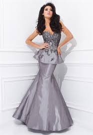 mermaid sweetheart neckline grey taffeta applique peplum evening