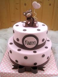 baby shower cake teddy cake pink and brown my sweet creations
