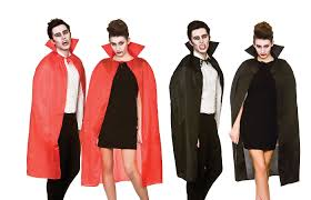 halloween devil vampire cape with high collar adults red black