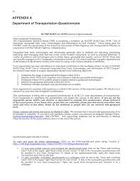 appendix a department of transportation questionnaire use of