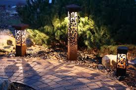 Bollard Landscape Lighting 6x6 Bollard Aspen Series Rust Weathered Steel Nightscaping
